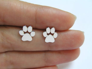 Silver Plated Dog Paw Print Earrings - Doggie Jewels