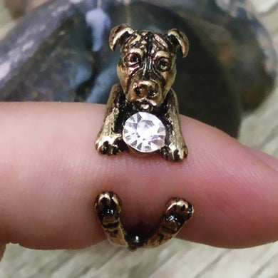 Beautiful Pit Bull Terrier Adjustable White Rhinestone Ring in bronze, black or silver - Doggie Jewels