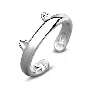 Silver Plated CAT EARS Thumb RING - Doggie Jewels
