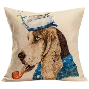Vintage Cute Basset Hound Pillow - Doggie Jewels