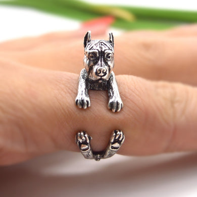 Antique Silver Pit Bull Animal Ring - Doggie Jewels