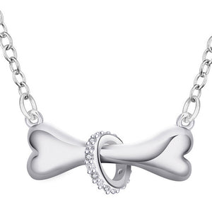 Silver Dog Bone Pendant Necklace - Doggie Jewels