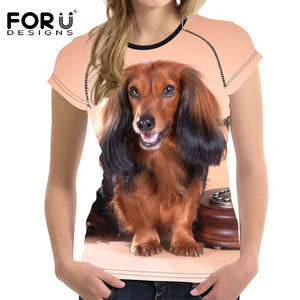 Fashion Women Summer T Shirts Cute 3D Long-haired Dachshund - various other breeds available in selection - Doggie Jewels
