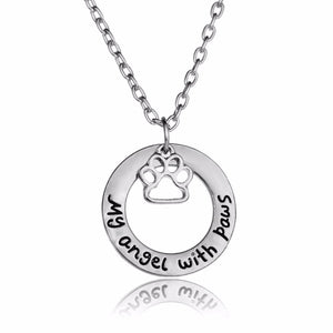 A Pet Claw Print - My Angle With Paws Pendant Necklace - Doggie Jewels