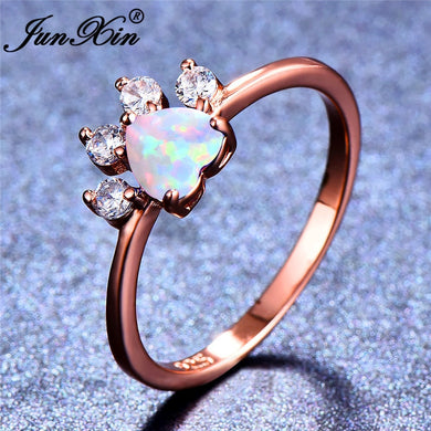 White Fire Opal Stone Animal Footprint Paw Heart Rose Gold Filled or silver Ring - Doggie Jewels