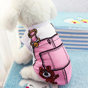 Cute Doggie T-Shirt Pink Fake Strap - Doggie Jewels