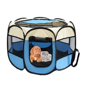 Portable Folding Pet tent Dog House - blue or pink available - Doggie Jewels