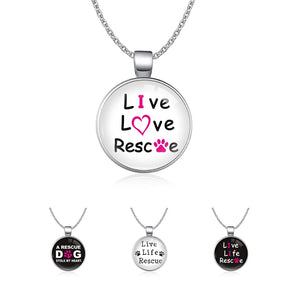 Infinity Love Animal Rights A Rescue Dog Stole My Heart Live Life Rescue Dog Mom Paw Print Necklaces for Women - Doggie Jewels