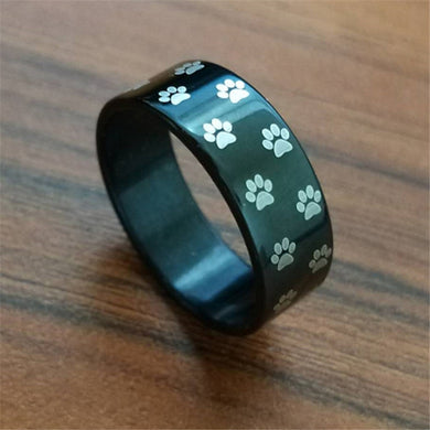 Black/gold/silver/multi color 8 mm Wide Ring Dog paw print ring - various sizes - Doggie Jewels