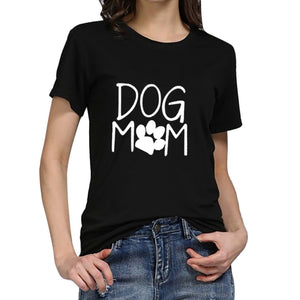 Women's Simple Cotton T-Shirts - Dog Mom - size small to 3X - various colors - Doggie Jewels