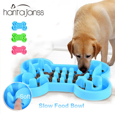 Slow Food Feeder Dog Bowl - Soft rubber - 3 colors to choose from - Doggie Jewels