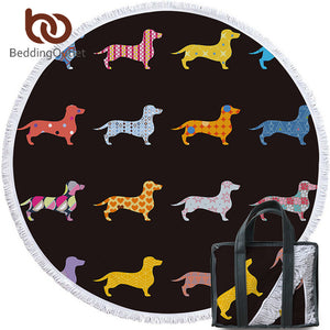 Colorful Soft Microfiber Dachshund Round Beach Towel - 5 feet in diameter! - Doggie Jewels