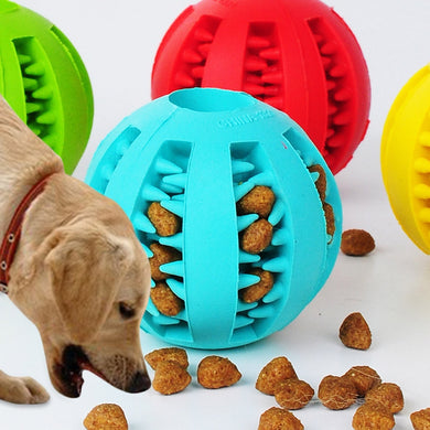 Extra-tough interactive Rubber Ball Doggie Food/Treat Dispensing Ball - Doggie Jewels