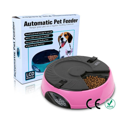 Pet Automatic Feeder Dog Food Bowl With 6 Meal Compartments - Doggie Jewels