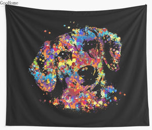 Colorful Dachshund dog Wall Tapestry Cover Throw Blanket - Doggie Jewels