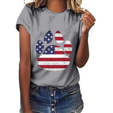 Women Patriotic Dog Paw T-Shirt - various colors and sizes available - Doggie Jewels