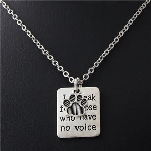 """I Speak For Those Who Have No Voice"" Pet Rescue Passion Necklace - Doggie Jewels"