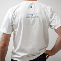 white tag line t-shirt