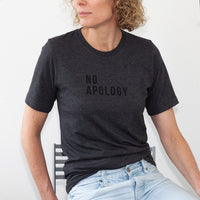 ladies long fit 'no apology' slogan tee