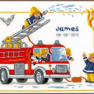 Fire Brigade Baby Birth Record Counted Cross Stitch Kit by Vervaco - PN0014601
