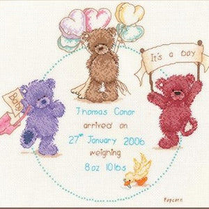 Popcorn Celebration Baby Birth Sampler Cross Stitch Kit (with options for girl or boy) by Vervaco - PN0011205