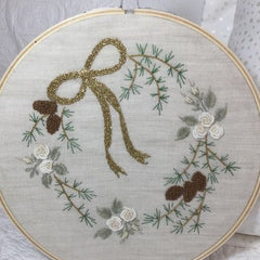 Joyeux Noel Embroidery and Cushion by Faded Rose Creations