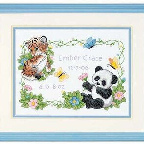 Baby Animals Birth Record Stamped Cross Stitch Kit by Dimensions