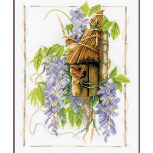 Wren Between Wisteria Counted Cross Stitch Kit by Lanarte - PN0021194