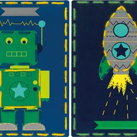 I Stitch Robot and Rocket Embroidery Card Set of 2 by Vervaco