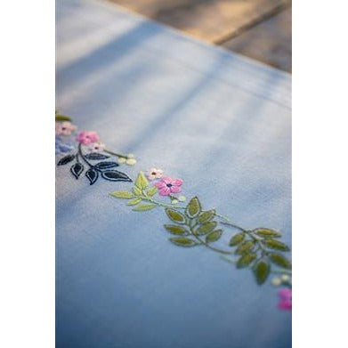 Flowers and Leaves Embroidered Runner Kit by Vervaco - PN0170760