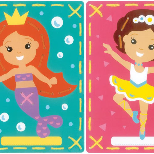 I Stitch Mermaid and Ballerina Embroidery Card Set of 2 by Vervaco