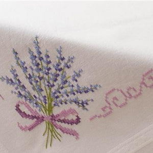 Lavender Stamped Cross stitch Table Cloth by Vervaco - PN-0013208