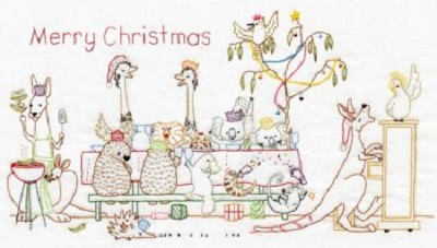 Aussie Christmas Lunch Stitchery by Smee Designs