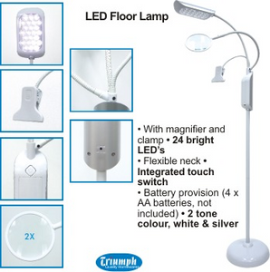 Led Floor Lamp With Magnifier And Clip