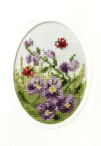 Pansies And Butterflies Cross Stitch Card Kit