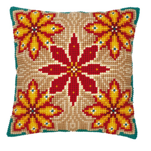 Floral Quintet Cross Stitch Pillow by Vervaco