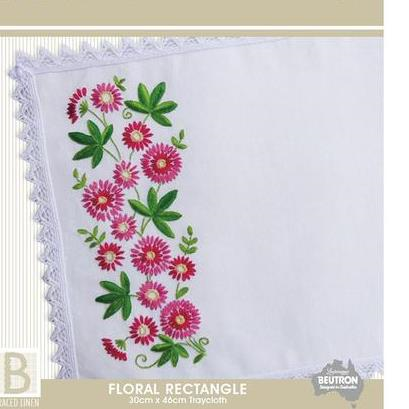 Floral Rectangle Embroidery Traycloth Kit by Beutron