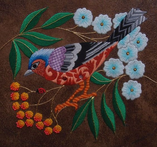 Chaffinch And Rowan Grapes By Nicola Jarvis