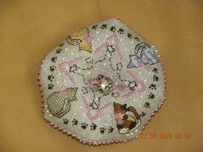 Cat Lovers Biscornu Pincushion By The Sweetheart Tree