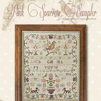 Pink Sparrow Sampler by With Thy Needle and Thread/ Brenda Gervais