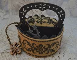 Black Flowers Sewing Basket By Mani Di Donna