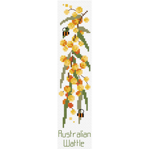 Golden Wattle Cross Stitch Bookmark by Country Threads