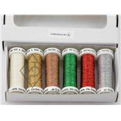 Metallic Threads by Au ver a Soie - Christmas Colours - Pack of 6
