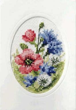 Poppies And Cornflowers Cross Stitch Card Kit