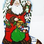 Santa with Gifts - Hand painted Needlepoint Canvas by Lee's Needle Arts.