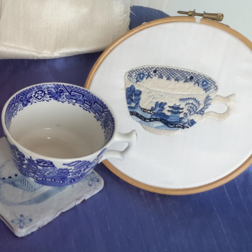 Vintage Blue Tea Cup Asian By Les Designs