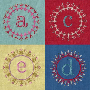 Decorated Alphabet Iron-On Embroidery Pattern by Nancy Nicholson