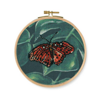 DMC Stamped Cross Stitch Kit Red Butterfly