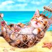 Kitten On Holiday Tapestry 6.306 by Grafitec
