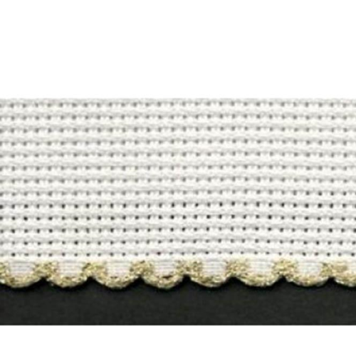 5cm Aida band Zwiegart Per Metre White/Gold edge